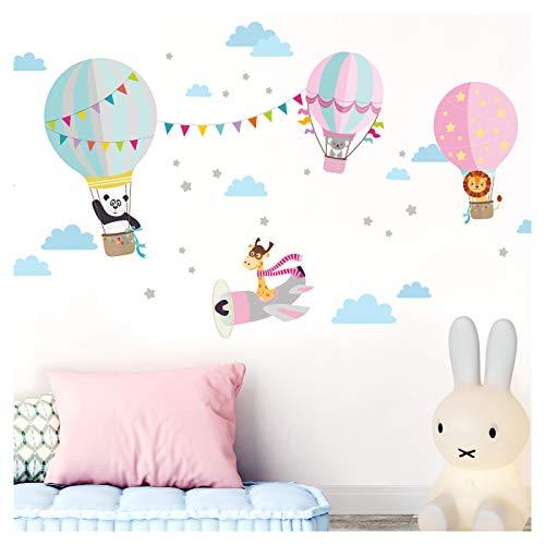 Little Deco DL338 - Adhesivo Decorativo para Pared, diseño de Animales en Globo de Aire Caliente y Jirafa en el avión I Cuadro Rosa I imágenes Infantiles para niñas, M - 94 x 48 cm (BxH)