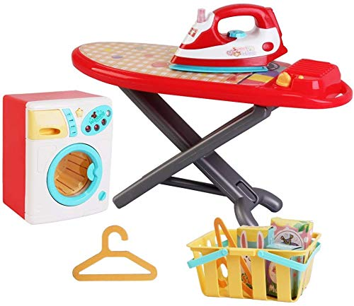 JIMMY'S TOYS Housekeeping Kids Electric Toy Playset, Iron, Ironing Board, Washing Machine, Basket, and Hangers - Includes Detergent Boxes (Lights up with Sound, and Realistic Spinning)