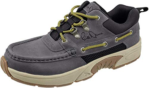 RUGGED SHARK Bill Dance Pro Boat Shoe, Premium Leather and Comfort, Fishing and Outdoor Shoe, Grey, Men's Size 10.5