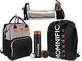 MOMNIFIC Bolsa de pañales y botella de agua inteligente/bolsa de viaje para bebé con cama plegable, cambiador y termos, multifuncional, elegante bolsa cambiadora de pañales
