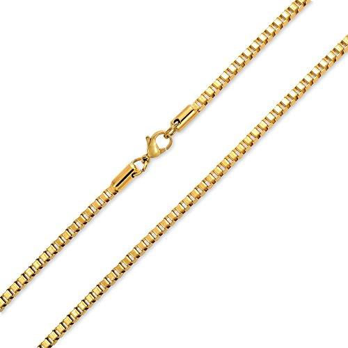 Bling Jewelry Mens Fuerte Tono Oro 3Mm Caja De Acero Inoxidable Collar De Cadena para Los Hombres De 18 A 20 Adolescentes De 24 Pulg.