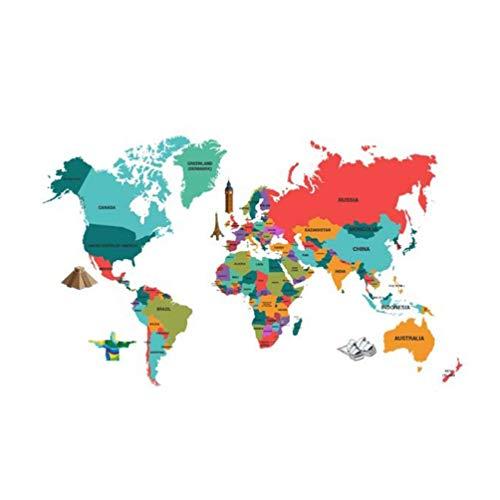 BESPORTBLE Mapa Del Mundo Etiqueta de La Pared Extraíble Tatuajes de Pared Adhesivos Autoadhesivos Tatuajes de Pared para Dormitorio Sala de Estar Hogar