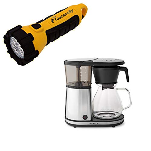 Toucan City LED Flashlight and Bonavita 8-Cup Stainless Drip Coffee Maker with Glass Carafe BV1901GW