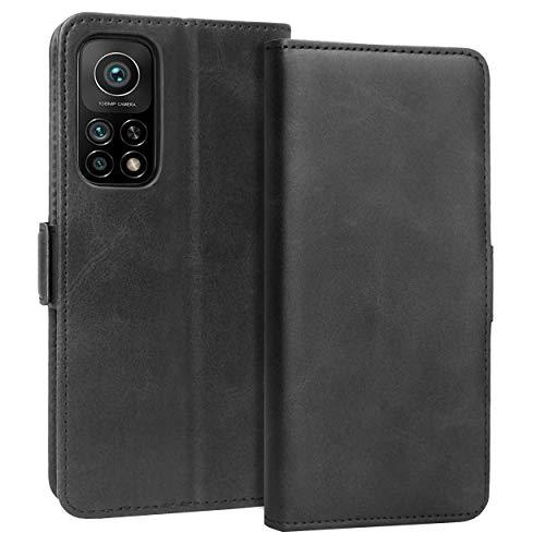 KUAO Leder Klapphülle Hülle Kompatibel mit Xiaomi Mi 10T/ 10T Pro 5G, [Classic Wallet Serie] mit Magnetverschluss & Standfunktion Schutzhülle Tasche Handyhülle für Xiaomi Mi 10T/Mi10T Pro (Schwarz)