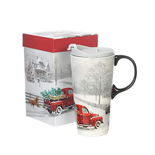17 oz Ceramic Travel Mug with Gift Box Porcelain Coffee Cup and Spill-proof Lid ,Winter Truck