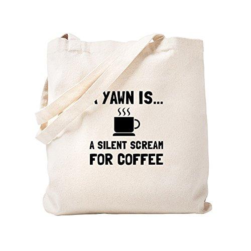 CafePress - Yawn Coffee – Natürliche Leinen-Einkaufstasche, Stoff-Einkaufstasche.