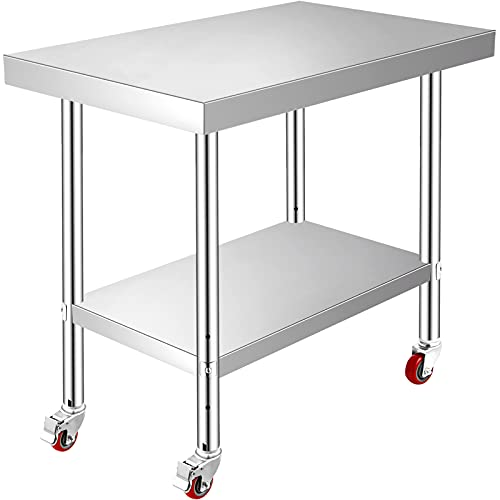 Mophorn Stainless Steel Work Table 36x24 Inch with 4 Wheels Commercial Food Prep Worktable with Casters Heavy Duty Work Table for Commercial Kitchen Restaurant