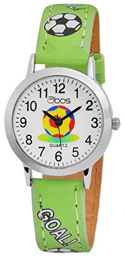QBOS Kinder - Uhr Lederimitat Armbanduhr Fußball Lernuhr Analog Quarz 4900001