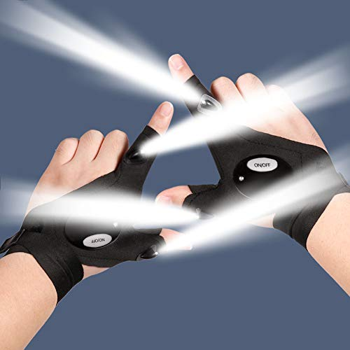 LED Gloves LED Flashlight Gloves, Finger Lights Gloves for Night Running, Camping, Fishing and Repairing, Gadgets Gifts for Men/Women Cool Stuff for Men Dad Father Husband Birthday Gift - 1 Pair