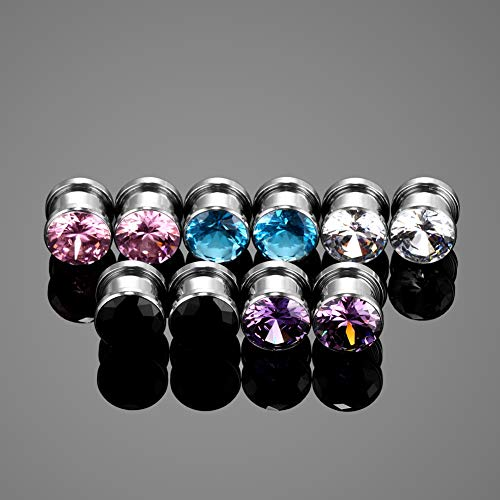 Xpircn 6G-   00G Stainless Steel Cubic Zirconia Screw Tunnels Ear Stretcher Plugs Piercing Gauges