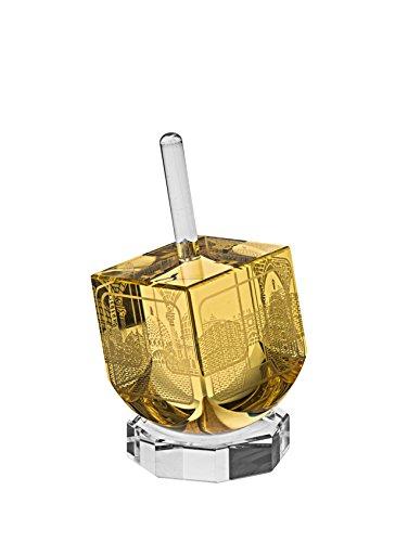 Scenes of Old Jerusalem Dreidel Crystal & Metal, amber crystal with goldtone top and goldtone metal engravings, With Crystal Stand. Size: 1.7' x 1.7' x 3'. Jewish Art, Hanukkah