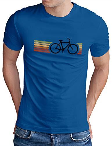 OM3® Retro Bicycle T-Shirt | Herren | Cycling Cyclist Biking Fahrrad Radfahrer | Blau-SW, XXL