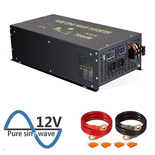 WZRELB 7000W Reiner Sinus-Wechselrichter 12V DC bis 230V 240V AC mit deutschem Standardstecker für Haushaltsgeräte Sonnensystem RV Camping für Wohnmobile, Autos, Camping, Reisen(7000w12V)