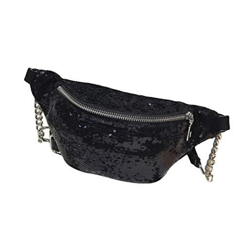 FENICAL riñonera Lentejuelas Bolso de Pecho Cremallera Brillo Cintura Bolso flipy Travel Sling Bolsos para Mujer Mujer niña (Negro)