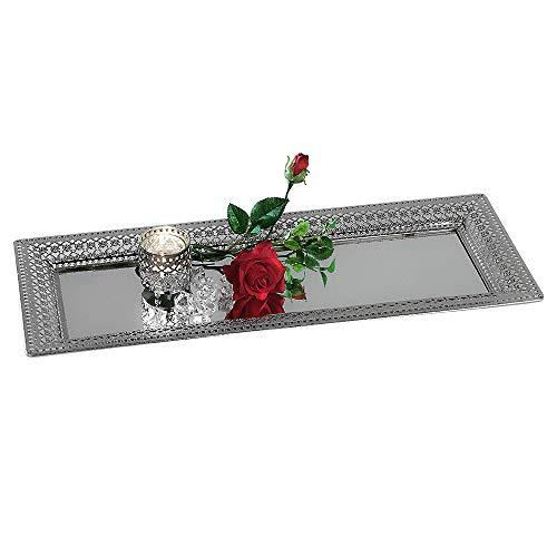 Formano Deko Tablett Spiegel Romantik mit Ornament-Rahmen, 60x24 cm, Silber