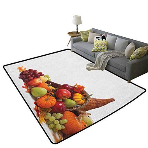 Harvest Non-Slip Kids Carpet Fall Arrangement with Fruits of The Season in a Cornucopia Bountiful Harvest CornChristmas Thanksgiving Holiday Decor Rug Multicolor 35 x 59 Inch