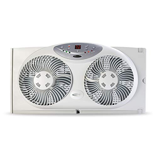 Bionaire BW2300-N Twin Reversible Airflow Window Fan with Remote Control, 2 Blades, White