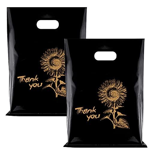 100 bolsas de agradecimiento de plástico, reutilizables, negras, para empaquetar ropa, camisetas, libros, alimentos, bolsas de plástico con asas, color negro