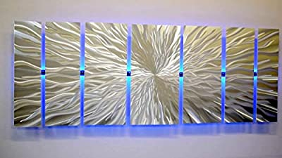 """Modern Abstract Metal Wall Art Large Metal Art Panels""""Cosmic Energy, LED"""" Color Changing LED Sculpture Painting Decor RGB from DV8 Studio"""