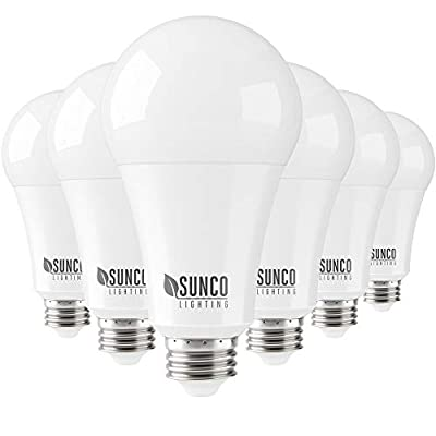Sunco Lighting 6 Pack A21 LED Bulb 22W=150W, 5000K Daylight, 2550 LM, E26 Base, Dimmable, Indoor Light for Lamp - UL & Energy Star