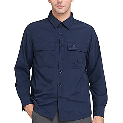 CAMEL CROWN Hiking Shirt Men Long Sleeve Outdoor Roll-Up Fishing Shirts with UV Protection Quick Dry for Work XL Dark Blue