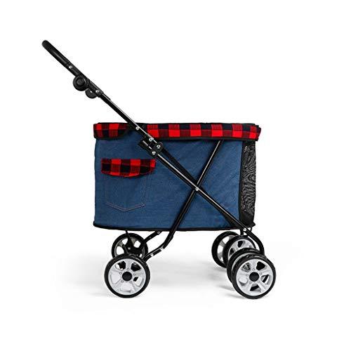 Hundebuggy for Kleine Hunde Prime Hundewagen Kinderwagen Buggy 360 ° Glattes Vorderrad, Easy Hund Katze Kinderwagen zu Falten, Armauflage 4-Gang-Adjustment (Color : Dark Blue)