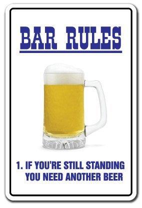 Personalisierte Bar Rules ~ Novelty Sign ~ Bier Schilder Funny Drunk Geschenk 18x 12Blechschild.