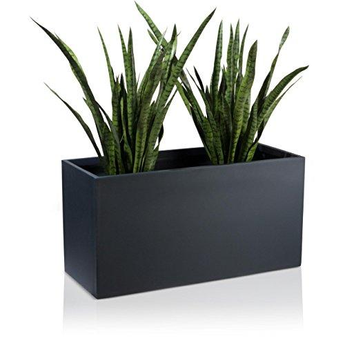 DECORAS Pflanztrog Blumentrog VISIO Fiberglas Blumenkübel - Farbe: anthrazit matt - großer Wetter- und winterfester Pflanztopf, robuster & UV-beständiger Pflanzkübel - TÜV-geprüfte Qualität