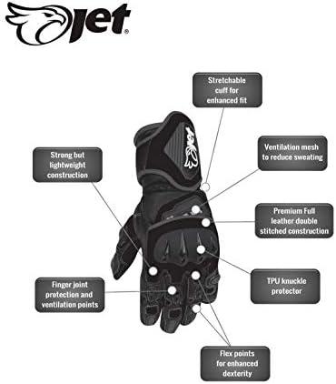Jet Motorradhandschuhe Premium Leder Belüftete Hartschalen Auf Knöcheln Und Fingern Bekleidung