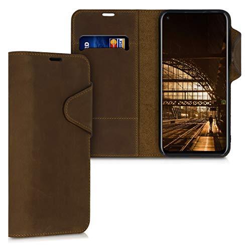 kalibri Hülle kompatibel mit Huawei P40 Lite - Leder Handyhülle Handy Hülle Cover - Schutzhülle in Braun
