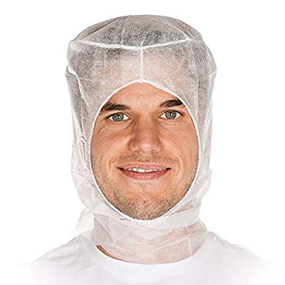 AMZ Anti-Static Hoods. Pack of 25 Cleanroom White Hoods. Universal Film Coated Hood with Elasticized face Opening. Lint Free Examination Hooded caps. Latex-Free
