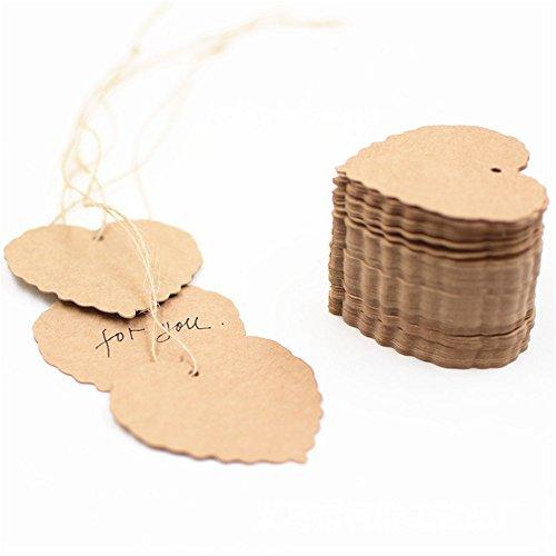 100 etiquetas de decoración de cartón en forma de corazón, para tarjetas, ropa, ropa, color de piel