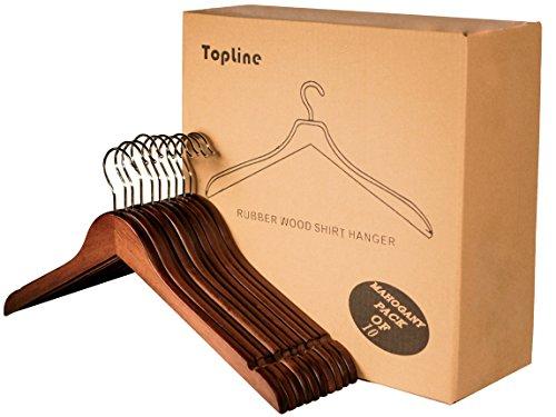 Topline Classic Wood Shirt Hangers - 10-Pack (Mahogany)