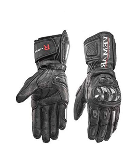 MYSdd Motorrad Reithandschuhe Motorrad Lange Carbonfaser Shell Handschuhe Herren Winter Winddicht Touchscreen - Schwarz XL