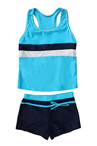 JerrisApparel Little Girls' Summer Two Piece Boyshort Tankini Kids Swimsuit (10-11/Tag Size 3XL, Blue)