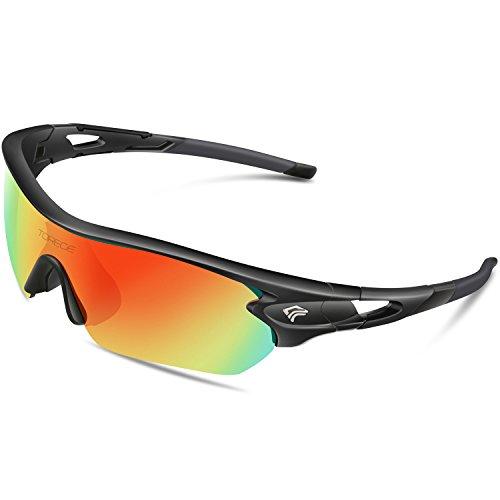 Torege Polarized Sports Sunglasses With 3 Interchangeable Lenes for Men Women Cycling Running Driving Fishing Golf Baseball Glasses TR002 Upgrade(Black&Black Tips&Rainbow Lens)