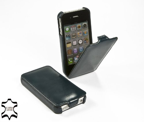 StilGut Leder-Hülle kompatibel mit iPhone 4/iPhone 4s vertikales Flip-Hülle, Nachtblau
