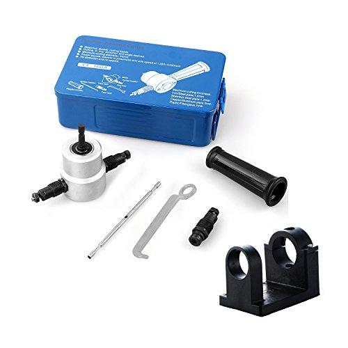 Blanketswarm Doppelt Kopf Metall Blatt Knabber Cutter Bohren Befestigung mit Schlüssel, Teile und Halter (Eisen Box)