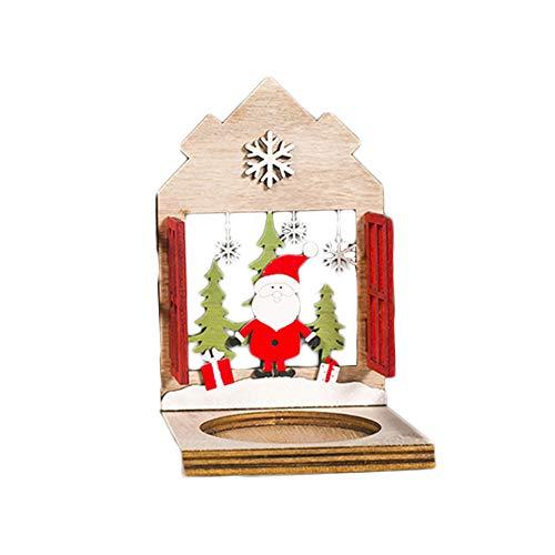 KeKeandYaoYao Houten Kandelaar Houder Tafel, 3D Huis Rendier Santa Xams Decoratief, Set van 1, Voetstuk Kaars Stand voor Kerstmis, Thuis, Feest, Vakantie Bureau Decoratie. Old Man