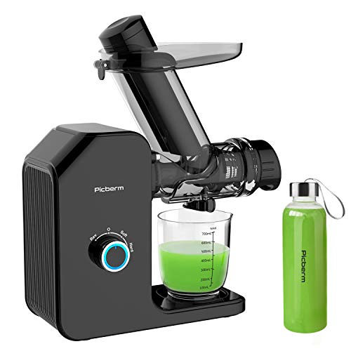 Juicer, Picberm PB2120A Slow Masticating Juicer Machines with Quiet Motor Easy to Clean, Wide Feed Chute Cold Press Juicer Extractor with Brush, Recipes for Fruits and Vegetables, BPA-Free Anti-drip Juicers Dishwasher Safe (Black with Bottle)