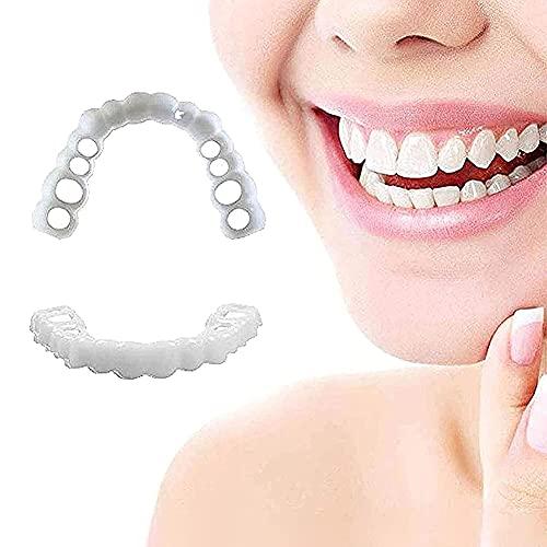 2 Paar Neptanden Veneers Snap in Teeth Veneers Kunstgebit Socket Voor Mannen En Vrouwen Cover De Imperfecte Tanden Geen…