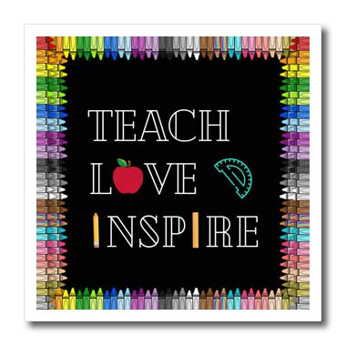 3dRose Teach Love and Inspire, Black Background with Crayons - Iron on Heat Transfers (ht_334777_3)