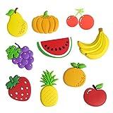 Cabilock 10 Unids Frutas de Dibujos Animados Imanes de Nevera Estéreo Magnéticos Imanes de Pizarra Mensaje de Aviso de Oficina Magnético para Niños Actividad Decoración del Hogar