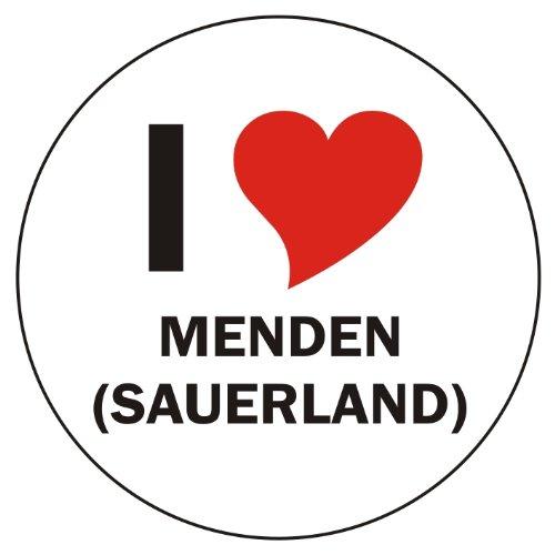 Aufkleber / Sticker / Autoaufkleber - I LOVE Menden (Sauerland) - JDM / Die cut / OEM - Auto / Heckscheibe - aussenklebend, rund, Größe: 80mm