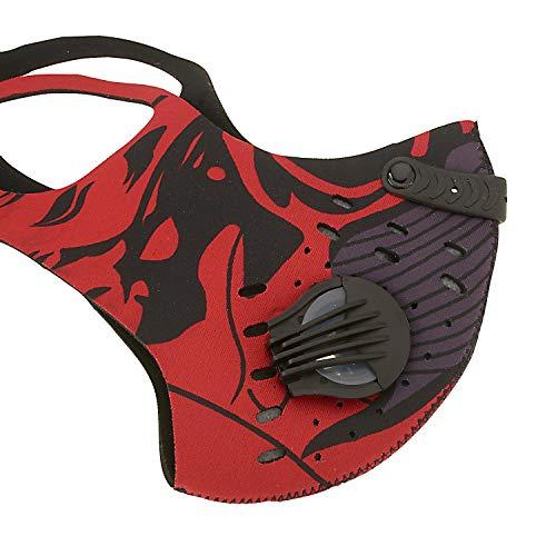 ASA TECHMED Masque facial réutilisable à double valve de respiration avec filtre à charbon actif (pratique rouge)