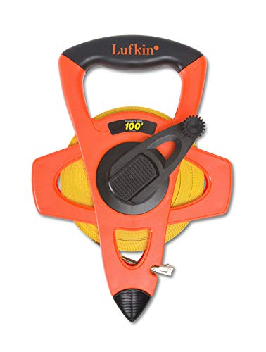 Lufkin Crescent 1/2' x 100' Hi-Viz Orange Engineer's Fiberglass Tape Measure - FE100D, orange/black