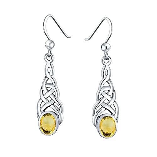 Gemsonclick Elegir tu color plata de ley creada o natural con piedras preciosas celtas, diseño de pendientes de gota lineal, joyería ovalada para mujeres y niñas, regalo de alambre de pescado amarillo