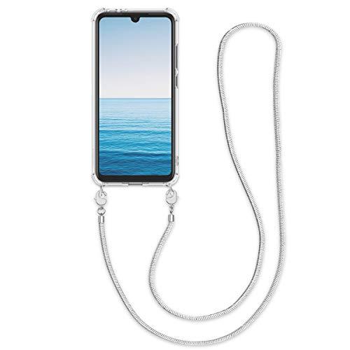 kwmobile Hülle kompatibel mit Xiaomi Redmi Note 7 / Note 7 Pro Hülle - Handykette - Silikon Handyhülle Schutzhülle Cover Case Silber Transparent
