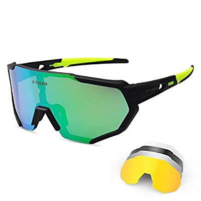 X-TIGER Polarized Sports Sunglasses with 5 Interchangeable Lenses,Mens Womens Cycling Bike Glasses,Baseball Running Fishing Golf Driving Sunglasses
