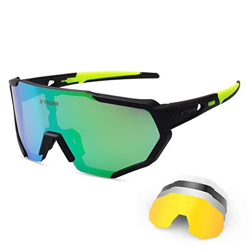 X-TIGER Gafas Ciclismo CE Certificación Polarizadas con 5 Lentes Intercambiables UV 400 Gafas,Corriendo,Moto MTB Bicicleta,Camping y Actividades al Aire Libre para Hombres y Mujeres TR-90 (JPC03-5)